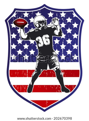 united states shield with football player - stock vector