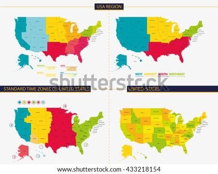 United states. Standard time zones of united states. USA region - stock vector
