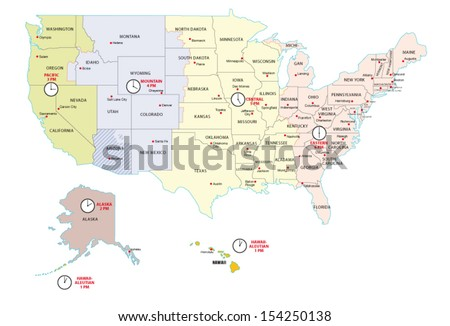 Time Zone Stock Images RoyaltyFree Images Vectors Shutterstock - Usa map with states and timezones