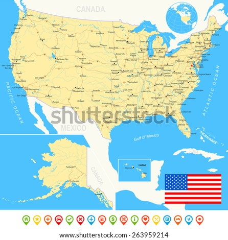United States (USA) - map, flag, navigation icons, roads, rivers - illustration  - land contours - country and land names - city names - water object names - flag - navigation icons - roads - rivers