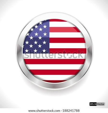 united states vector flag button, usa flag badge - vector eps10 - stock vector