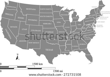 United States vector map with mileage and kilometer scales and states names and capital location and name, Washington DC, USA map in grey color, US map outlines with boundaries or polygons of states - stock vector