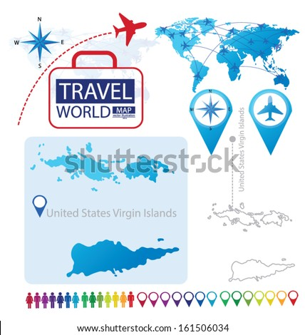 United States Virgin Islands. World Map. Travel vector Illustration. - stock vector