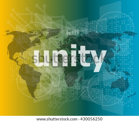 unity text on digital touch screen - business concept - stock vector