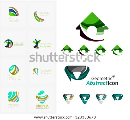 Universal abstract geometric shapes - business emblems. Created with wavy overlapping elements, clean flowing modern design - stock vector