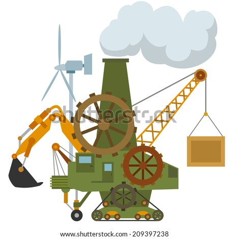 Universal cartoon machine tractor crane gear. Vector illustration. - stock vector