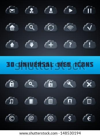 Universal Cloud Web Icons. Vector Set. - stock vector