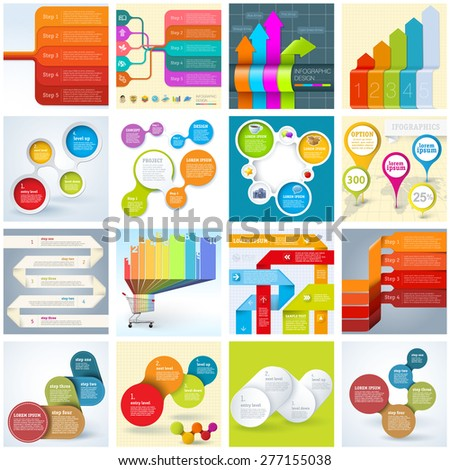 Universal collection of flat ifographic  mock-ups and concepts. - stock vector