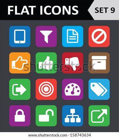 Universal Colorful Flat Icons. Set 9. - stock vector