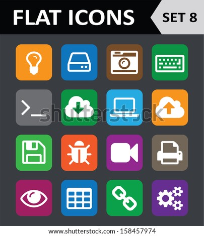 Universal Colorful Flat Icons. Set 8. Vector illustration