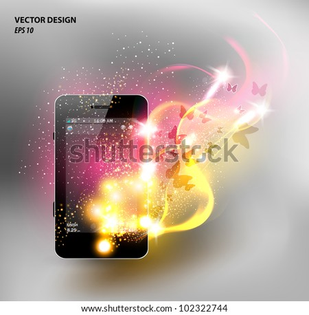 Universal design phone, neon design - stock vector