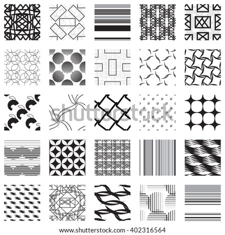 Universal different geometric seamless patterns, black and white vector backgrounds collection.