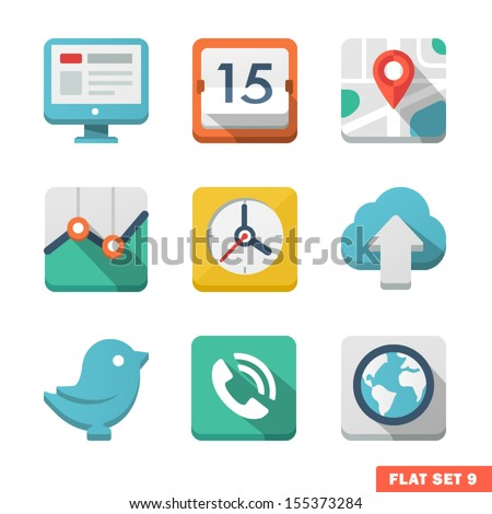 Universal Flat icon set. News, contacts, analitycs and communications. - stock vector