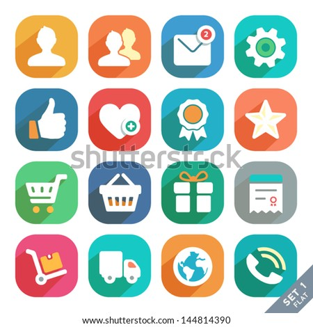 Universal Flat icons for Web and Mobile App. Profile, Favorites, Shopping, Service. - stock vector