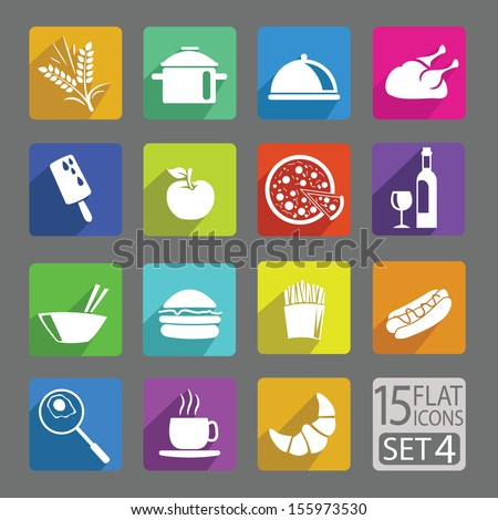 Universal flat icons for web and mobile applications. Foods. Set 4 - stock vector