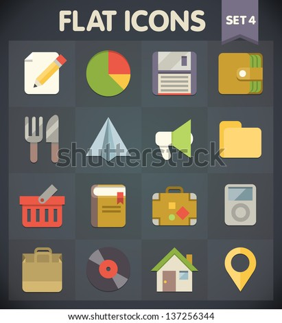 Universal Flat Icons for Web and Mobile Applications Set 4 - stock vector