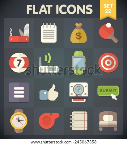 Universal Flat Icons for Web and Mobile Applications Set 22 - stock vector
