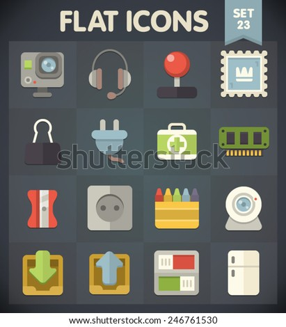 Universal Flat Icons for Web and Mobile Applications Set 23 - stock vector