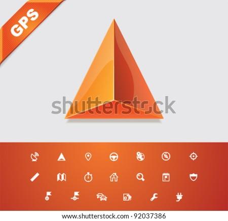 Universal glyphs 12. GPS 1 - stock vector