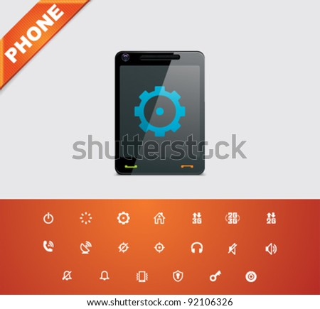 Universal glyphs 15. Phone symbols 2 - stock vector