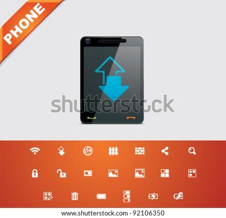 Universal glyphs 17. Phone symbols 4 - stock vector