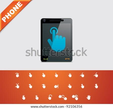 Universal glyphs 19. Phone symbols 6 - stock vector
