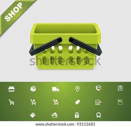 Universal glyphs 20. Shopping - stock vector