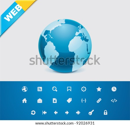 Universal glyphs 7. Web icons - stock vector