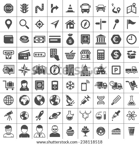 Universal Icon Set. 81 icons. Transport, business, financial, research and social icons. Simplus series - stock vector
