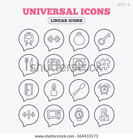 Universal icons. Fitness dumbbell, home key and candle. Toilet paper, knife and fork. Microwave oven. Linear icons in speech bubbles.