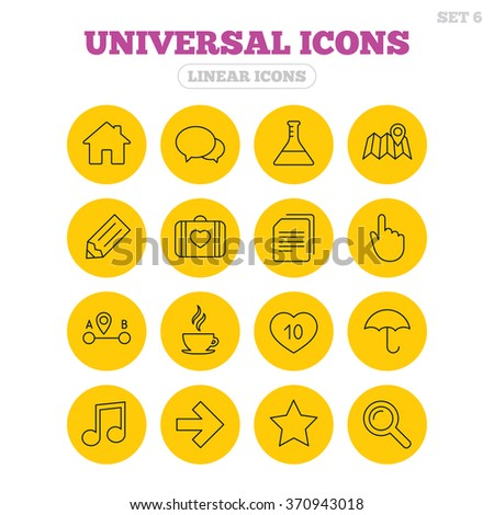 Universal icons. House building, speech bubbles and first aid box. Copy documents, like counter and hot coffee drink. Map pointer, arrow and favorite star. Linear icons on yellow buttons. - stock vector