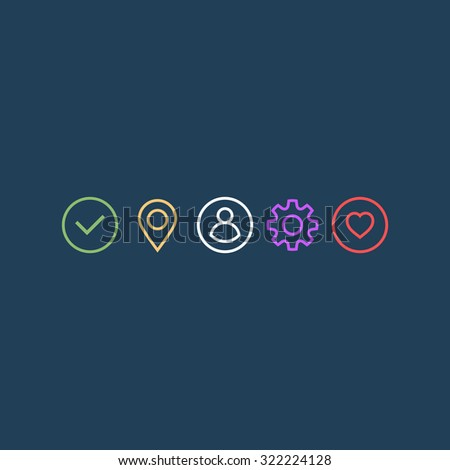 Universal icons set for web and app. Set of thin icons. Vector illustration - stock vector