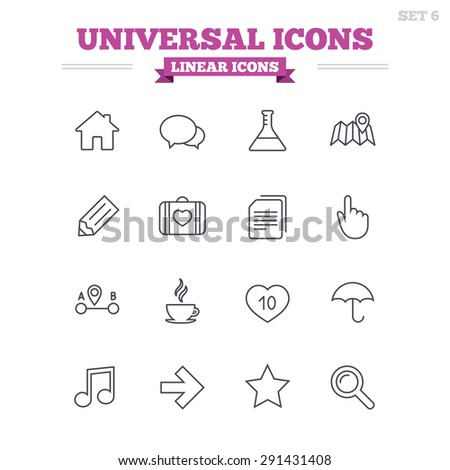Universal linear icons set. House building, speech bubbles and first aid box. Copy documents, like counter and hot coffee drink. Map pointer, arrow and favorite star. Thin outline signs. Flat vector - stock vector