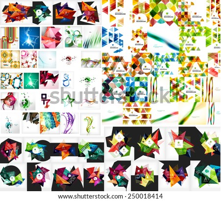 Universal mega collection of web abstract backgrounds - waves, geometric triangular shapes, mosaic and other designs - stock vector