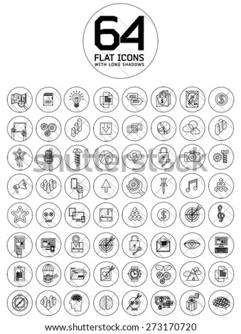 universal modern thin line icons for web and mobile app, business, finance, multimedia, hipster style - stock vector