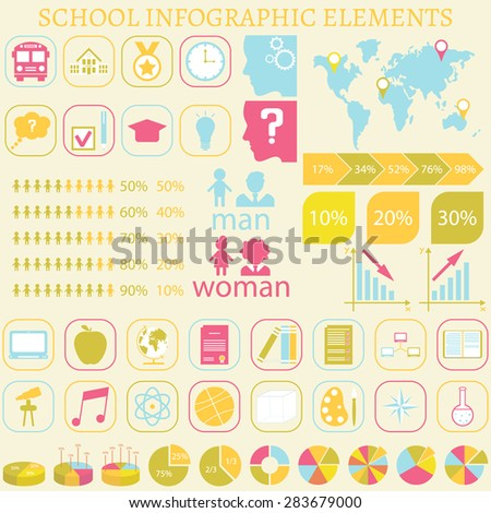 Universal school infographic elements. Icon for infographics, presentations, business, cards and backgrounds. Easy editable vector file with charts, graphics and school icons. Vector illustration. - stock vector