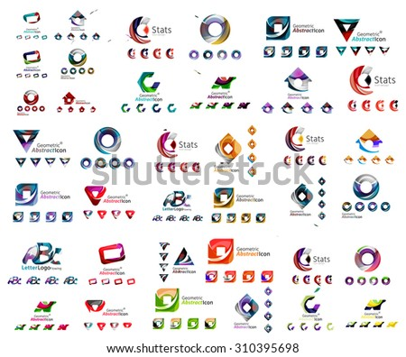 Universal set of abstract logos. Business, app, web design symbol template - loops, geometric shapes and other