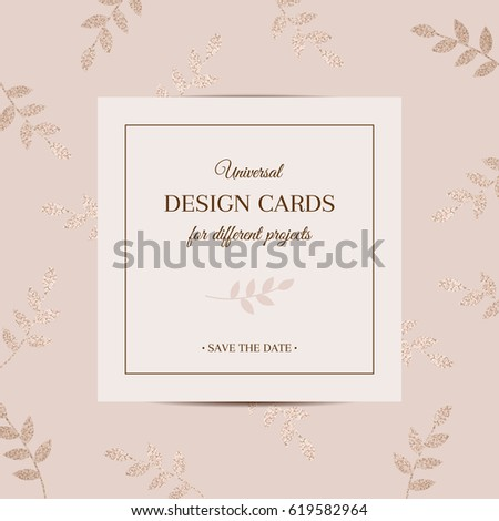 Universal Stylish Pattern Postcards Leaves Decorated Vector – Birthday Invitation Postcards