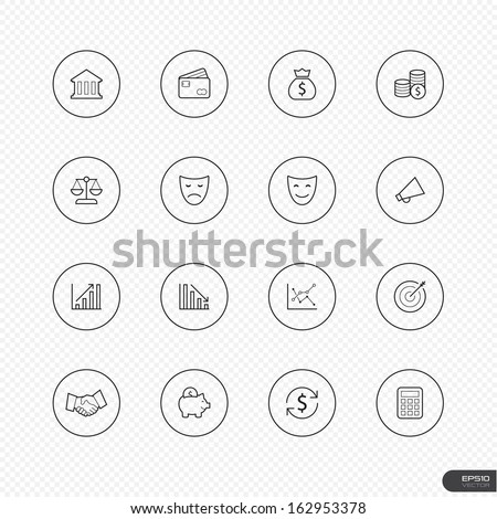 Universal thin icon sets with circle on white background for Web & Mobile # 21 Business finance money - stock vector
