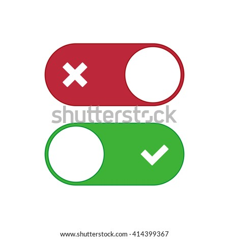 Universal toggle switch vector icon, On and Off position simple icons.Green and red switch. Modern minimal flat design style.