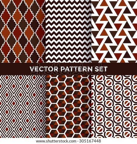Universal Vector Pattern Set - Collection of Six Pattern Designs on White Background - stock vector