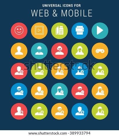 Universal Web Icons Web and Mobile. Vector icon set illustration. simple pictogram minimal, flat, solid, mono, monochrome, plain, contemporary style. Vector illustration web internet design elements - stock vector
