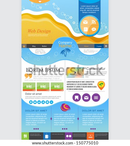 Universal Website design, homepage template. Vector illustration - stock vector