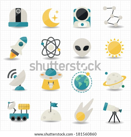 Universe and Space icons - stock vector