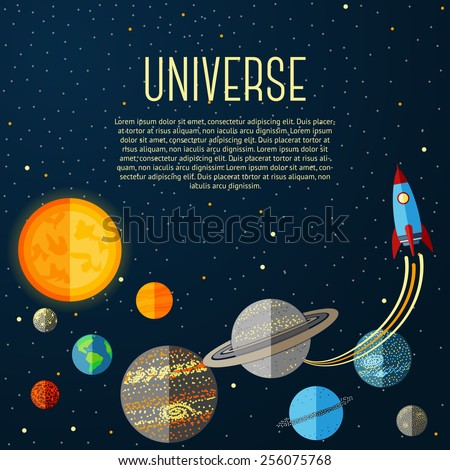 Universe banner with solar system, stars and space rocket. Vector - stock vector