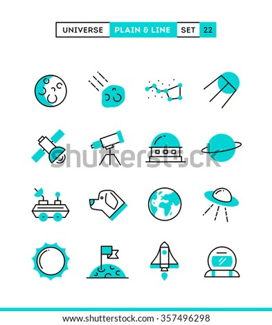 Universe, celestial bodies, rocket launching, astronomy and more. Plain and line icons set, flat design, vector illustration - stock vector