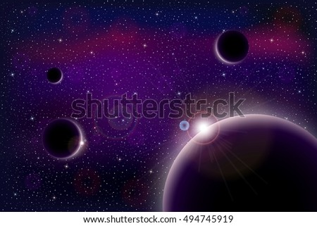 Universe With Stars Nebula Planets And Galaxy Vector Illustration