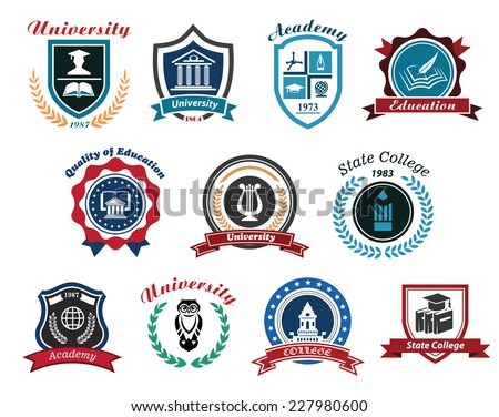 University, academy and college emblems or logos set for education industry design. Isolated on white background - stock vector