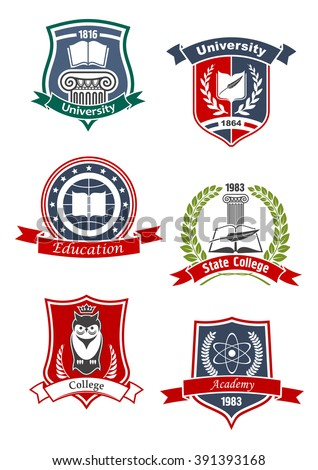 University, academy, college and education icons with books and feather, crowned owl, atom model and greek column, framed by medieval shields, laurel wreaths and ribbon banners - stock vector
