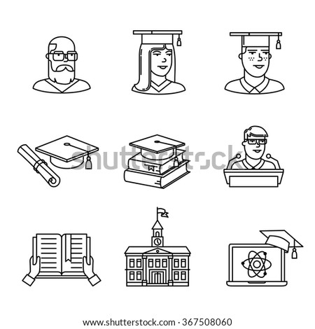 University and academic education signs set. Thin line art icons. Linear style illustrations isolated on white. - stock vector